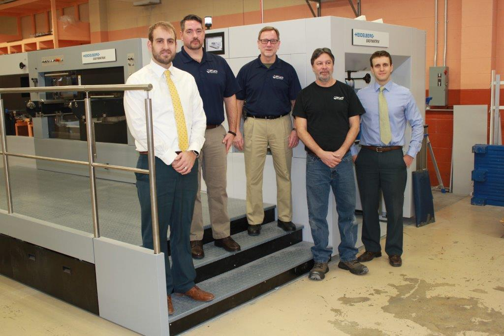 From left to right: Derek Sieber, treasurer of McCarty Printing; Jeff LaMaye, production manager of McCarty Printing; Bill Wolford, plant manager of McCarty Printing; Joe Zipp, operator of McCarty Printing; and Brandon Sieber, president of McCarty Printing
